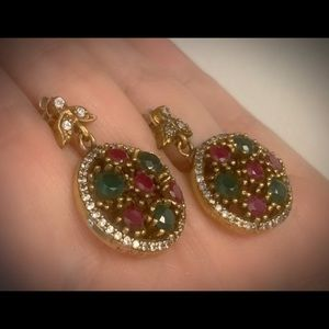 Circle of Gems Exquisite Emerald Ruby Earrings 925